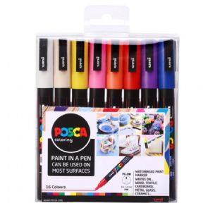 Posca PC-3M 1.5mm Fine tip Markers 16 Piece Set